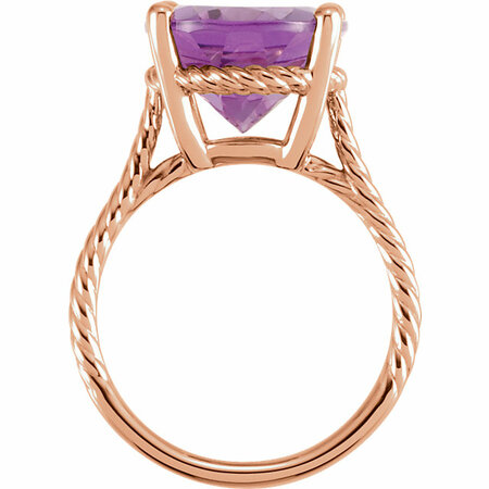 14KT Rose Gold 14x12mm Amethyst Rope Ring