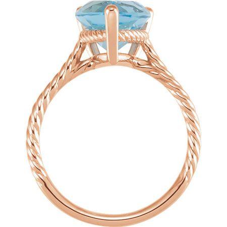 14KT Rose Gold 18x13mm Swiss Blue Topaz Rope Ring