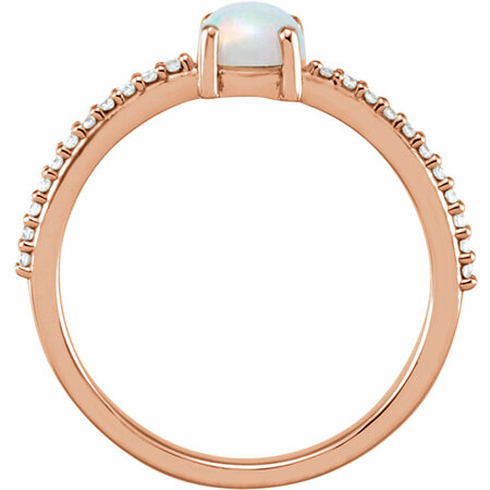 14KT Rose Gold 5mm Round Cabochon Chatham Created Opal & 1/10 Carat Total Weight Diamond Ring