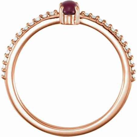 14KT Rose Gold 5x3mm Oval Cabochon Pink Tourmaline & 1/8 Carat Total Weight Diamond Ring