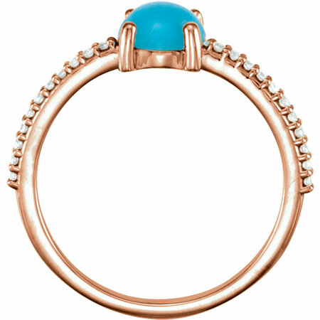 14KT Rose Gold 6mm Round Cabochon Turquoise & 1/10 Carat Total Weight Diamond Ring