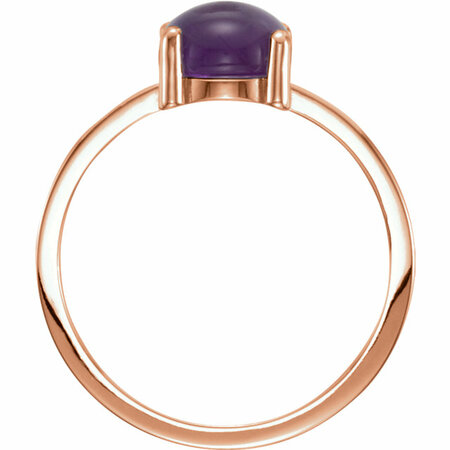 14KT Rose Gold 7mm Round Amethyst Cabochon Ring