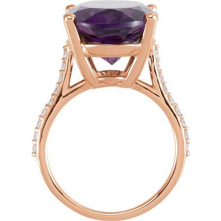 14KT Rose Gold Amethyst & 1/4 Carat Total Weight Diamond Ring