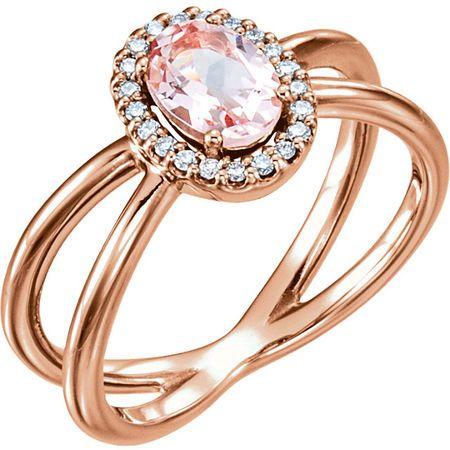 Great Deal in 14 Karat Rose Gold Morganite & .08 Carat Total Weight Diamond Ring