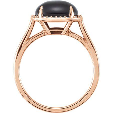 14KT Rose Gold Onyx & .06 Carat Total Weight Diamond Ring