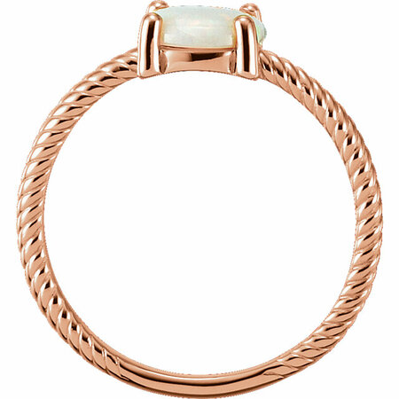 14KT Rose Gold Opal Cabochon Ring