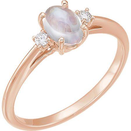 Wonderful 14 Karat Rose Gold Rainbow Moonstone & .06 Carat Total Weight Diamond Ring