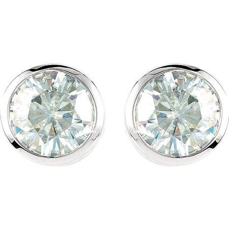 14kt White 6.5mm Round Forever Classic Moissanite Bezel Set Stud Earrings