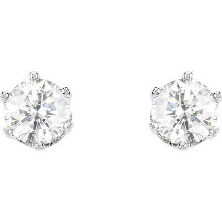 14KT White Gold 1 1/2 CTW Diamond Threaded Post Stud Earrings