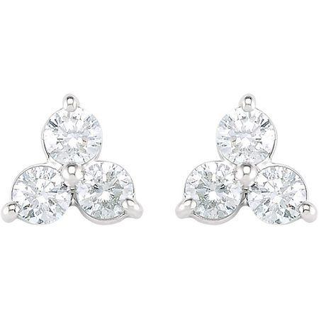 14KT White Gold 1 1/5 CTW Three-Stone Diamond Earrings