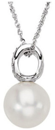 14KT White Gold 1/10 Carat Total Weight Diamond & 12mm South Sea Cultured Pearl Pendant