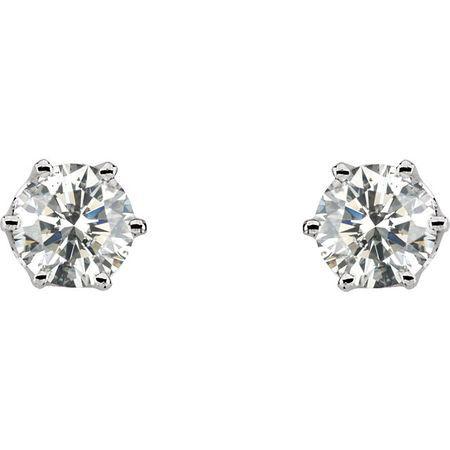 14KT White Gold 1 CTW Diamond Threaded Post Stud Earrings