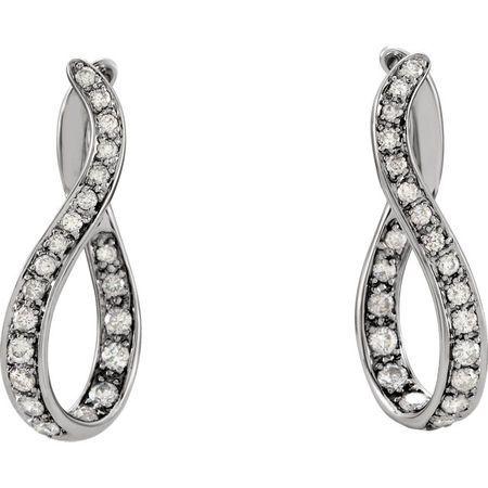 14KT White Gold 1 CTW Diamond Wavy Hoop Earrings