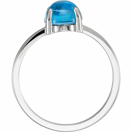 14KT White Gold 10mm Round Blue Chalcedony Cabochon Ring