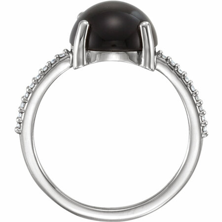 14KT White Gold 10mm Round Cabochon Onyx & .08 Carat Total Weight Diamond Ring