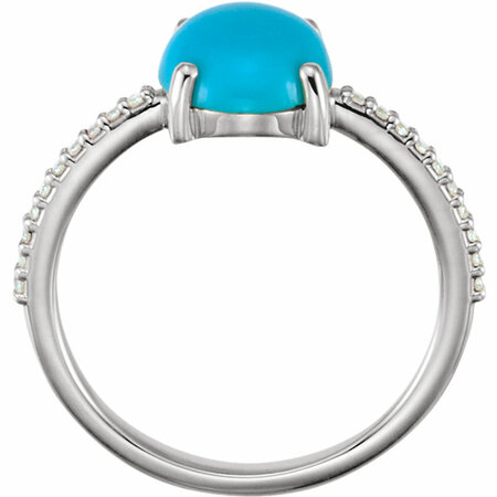 14KT White Gold 10x8mm Oval Cabochon Turquoise & 1/10 Carat Total Weight Diamond Ring