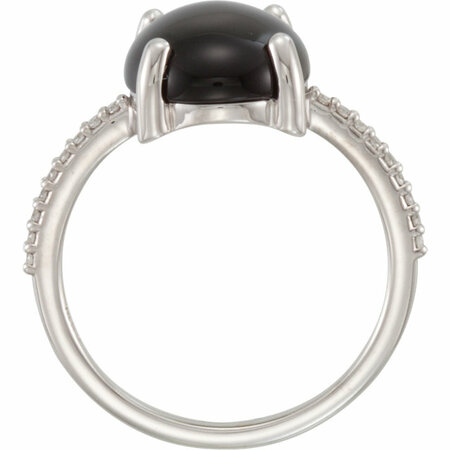 14KT White Gold 12x10mm Oval Cabochon Onyx & .08 Carat Total Weight Diamond Ring