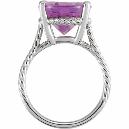 14KT White Gold 14x12mm Amethyst Rope Ring