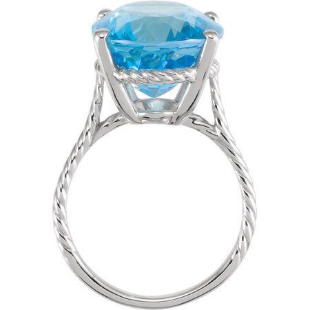 14KT White Gold 18x13mm Swiss Blue Topaz Rope Ring