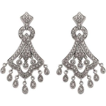 14KT White Gold 3/4 CTW Diamond Earrings