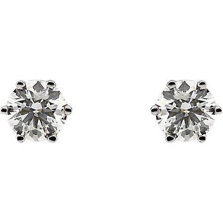 14KT White Gold 3/4 CTW Diamond Threaded Post Stud Earrings