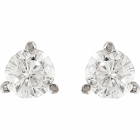 14KT White Gold 4mm Round Forever Classic Moissanite 3-Prong Stud Earrings