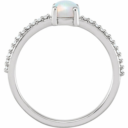 14KT White Gold 5mm Round Cabochon Chatham Created Opal & 1/10 Carat Total Weight Diamond Ring