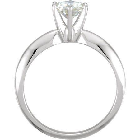 14KT White Gold 6mm Round Forever Classic™ Moissanite Engagement Ring
