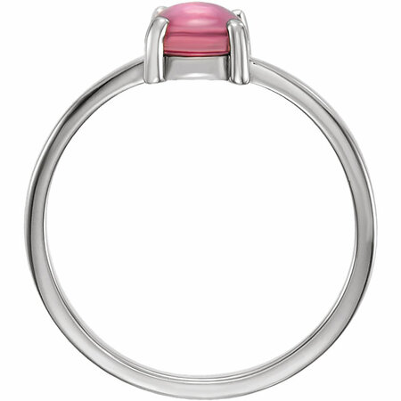 14KT White Gold 6mm Round Pink Tourmaline Cabochon Ring