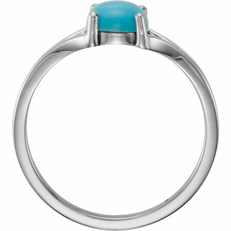 14KT White Gold 6mm Round Turquoise Cabochon Ring
