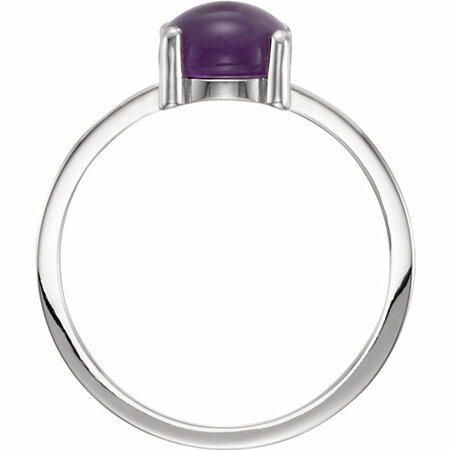 14KT White Gold 7mm Round Amethyst Cabochon Ring