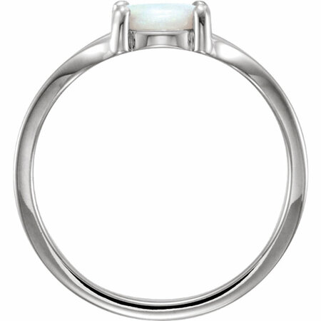 14KT White Gold 7mm Round Opal Cabochon Ring