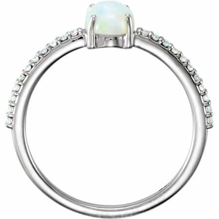14KT White Gold 7x5mm Oval Cabochon Chatham Created Opal & 1/10 Carat Total Weight Diamond Ring