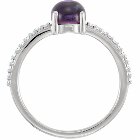 14KT White Gold 8x6mm Oval Cabochon Amethyst & 1/10 Carat Total Weight Diamond Ring