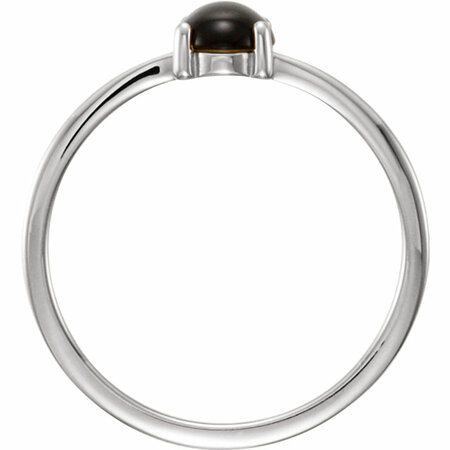 14KT White Gold 8x6mm Oval Onyx Cabochon Ring