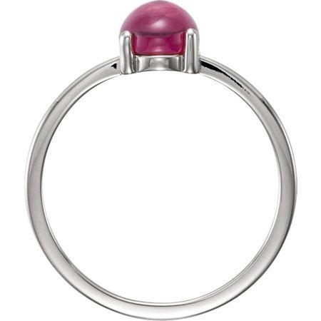 14KT White Gold 8x6mm Oval Rhodolite Garnet Cabochon Ring