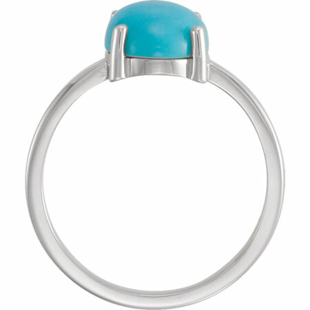 14KT White Gold 8x6mm Oval Turquoise Cabochon Ring