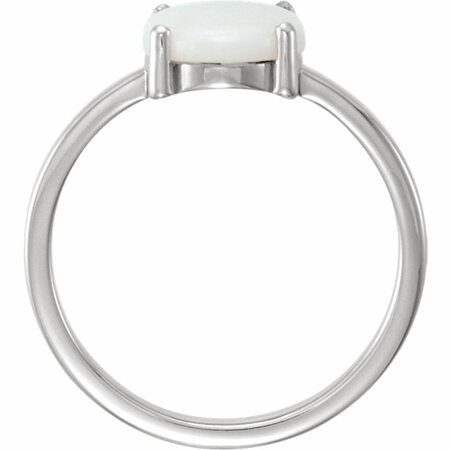 14KT White Gold 9x7mm Oval Opal Cabochon Ring