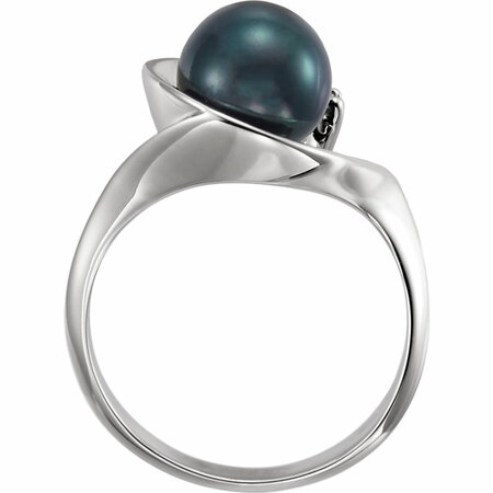 14KT White Gold Akoya Cultured Pearl & .03 Carat Total Weight Diamond Ring
