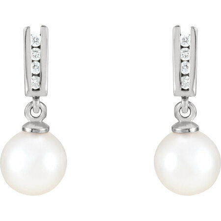 14KT White Gold Akoya Cultured Pearl & 1/8 Carat Total Weight Diamond Earrings