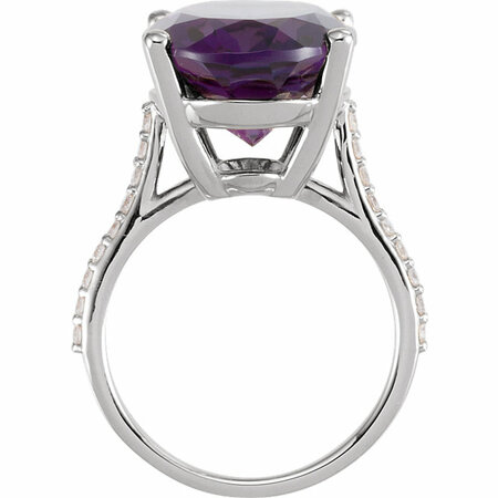 14KT White Gold Amethyst & 1/4 Carat Total Weight Diamond Ring