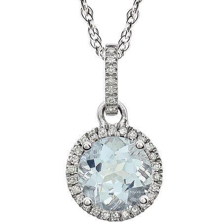Gorgeous 14 Karat White Gold Aquamarine & 0.10 Carat Total Weight Diamond 18