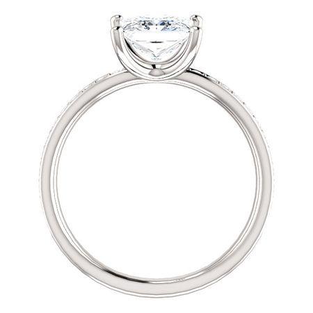 14KT White Gold Forever Brilliant Moissanite & 1/8 Carat Total Weight Diamond Ring