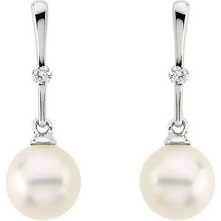 14KT White Gold Freshwater Pearl & .06 Carat Total Weight Diamond Earrings