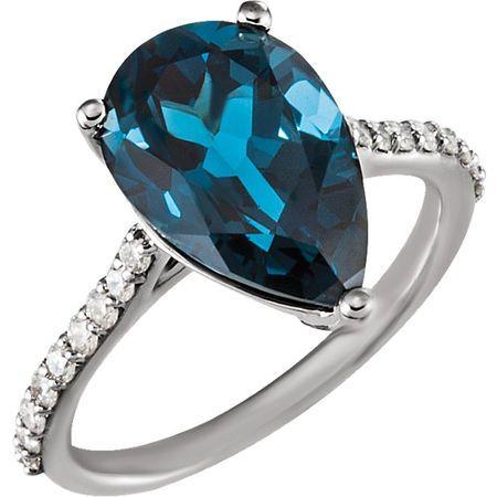 Chic 14 Karat White Gold London Blue Topaz & 0.25 Carat Total Weight Diamond Ring