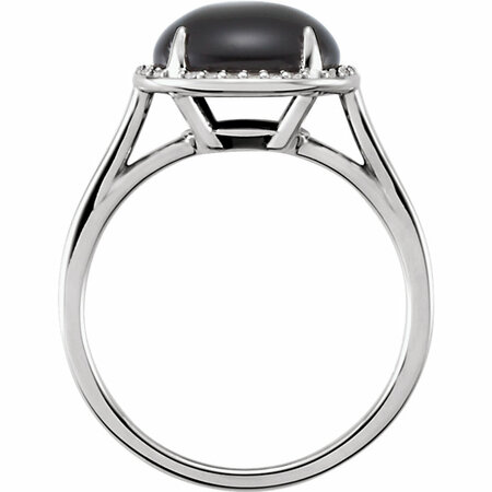 14KT White Gold Onyx & .06 Carat Total Weight Diamond Ring