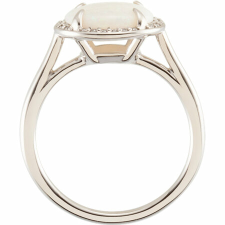 14KT White Gold Opal & .06 Carat Total Weight Diamond Ring