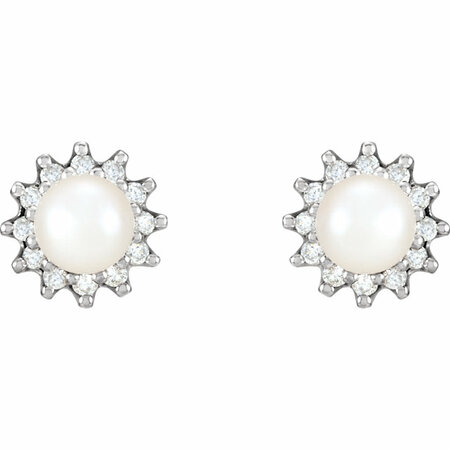 14KT White Gold Pearl & 1/3 Carat Total Weight Diamond Earrings