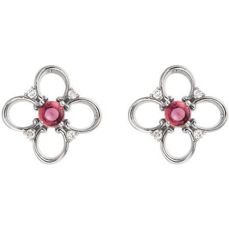 14KT White Gold Pink Tourmaline & .04 Carat Total Weight Diamond Earrings