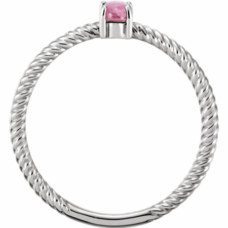 14KT White Gold Pink Tourmaline Cabochon Ring